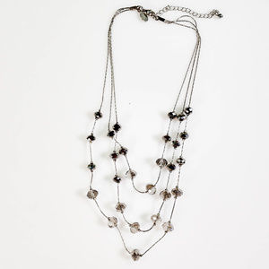 """Jewelry - 16"""" Silvertone Wire Chain Crystal Bead Necklace"""